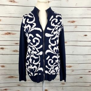 Chicos Zip Up Sweater Floral Print Pullover